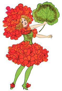 geranium flower child, Elizabeth Gordon, old book page, vintage flower children poem, vintage storybook printable