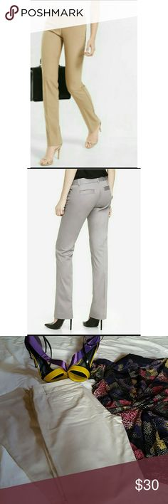 """Columnist Pant From The Express This sleek and sophisticated closely tailored , leg lengthening style ends with a barely boot cut for a slimming effect.  - Back and front welt pockets - low rise, slim fit, barely boot - hidden hook and button closure and zip fly - belt loops All measurements are approximate  - waist(laying flat) 15.25"""" - inseam 32"""" Top 2 pictures to show style of pants(same pant,different color). Bottom two are actual color. Express Pants Boot Cut & Flare"""