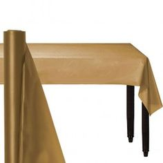 Gold Table Roll - Plastic each Plastic Tables, Plastic Spoons, Plastic Tablecloth, Party Plates, Party Cups, Table Party, Happy Birthday, Banquet Tables, Gold Table