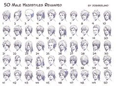 "helpyoudraw: "" 50 Male Hairstyles - Revamped by OrangeNuke 20 Male Hairstyles by gunzy1 Male hair and lighting by moni158 20 More Male Hairstyles by LazyCatSleepsDaily Men's Hair - Set 9 by..."