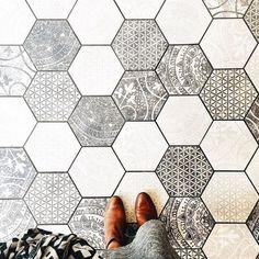 patterned hexagon tiles