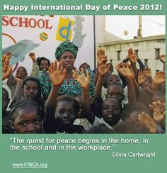 Let's join the quest for the world peace by starting small: peace at home, in the school, in our community, at work! Please share this message with your friends and join the global celebration!  Happy International Day of Peace!