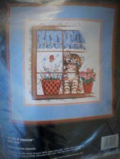 KITTEN IN WINDOW Counted Cross Stitch KIT Bucilla Sandy Garbrandt