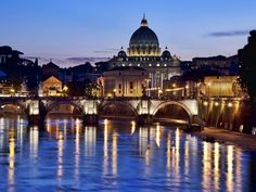 St. Peter's Basilica, Vatican...we saw it at illuminated at night from our balcony seats at the top of the Cavaliteri Hilton Hotel where we at the most wonderful and expensive dinner of our lives at La Pergola.  Heinz Beck was the 5 Michelin star chef at the hotel.