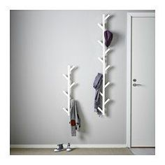 IKEA - TJUSIG, Hanger, white, , The hanger helps you transform an empty wall into a practical storage space for clothes, bags and shoes.Make even better use of the height of the wall by putting two hangers on top of one another.Solid wood is a hardwearing natural material.