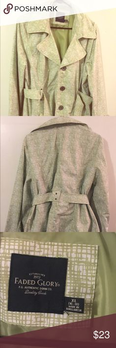 Green/cream trench coat - XL Green/cream trench coat - XL Faded Glory Jackets & Coats Trench Coats
