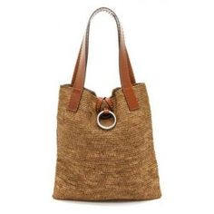 crochet - Michael Kors Collection Janey Ring XL Tote - Apocalypse Now And Then Crochet Handbags, Crochet Purses, Crochet Bags, Crochet Baskets, Free Crochet, Thick Leather, Leather Handle, Diy Sac, Bag Women
