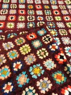 Multi Color, Granny Square Crochet Afghan, Warm Lap Throw, 70s quilt, bed linen, quilted throw, Afghan by GinnysGirlsTreasures on Etsy
