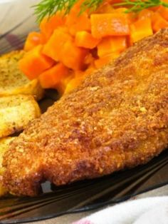 Corn Flake Crumb Baked Chicken No need for bread crumbs, just use corn flakes for a breaded chicken recipe that reheats well!