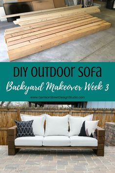 DIY Outdoor Sofa | ©️GarrisonStreetDesignStudio | Outdoor Furniture | DIY | Wood | Rustic | Modern | Easy | Ideas | Cushions | Cheap | Comfortable | On a Budget | Lounge | Restoration Hardware Aspen Collection|Knockoff | Patio | Porch | Deck | Couch | Build |Stain | Seating | Timbers | Lumber | Chunky | Backyard | Yard | Luxury | Affordable | Comfy | Railroad Ties | One Room Challenge | Bench | Patio Furniture | Summer | Outdoor Living | Outdoor Oasis | Outdoor Spaces #modernpatiofurniture