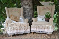 rose rustic chairs minus the ruffles and i love the chairs :)