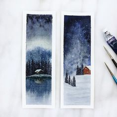 Snowy winter watercolour bookmark
