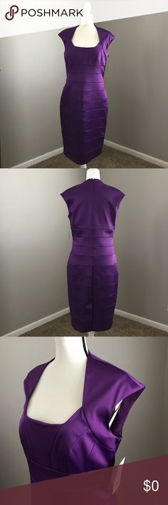 ✨💜 Purple Wiggle Dress Size 14 💜✨ Gorgeous purple dress with elizabethan neckline and cap sleeve. Back zipper. Form fitting and flattering! Material has some stretch. New with tags.    👗NWT 👠TTS  ✨Smoke Free/Pet Free Home  💄NO Trades   Reasonable offers are welcome! Notify me with any questions. Feel free to bundle! Thanks for shopping my closet! Sangria Dresses