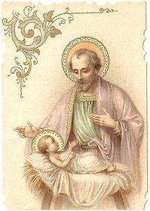 Antique Vintage French Holy Prayer Card Joseph & Baby Jesus   eBay