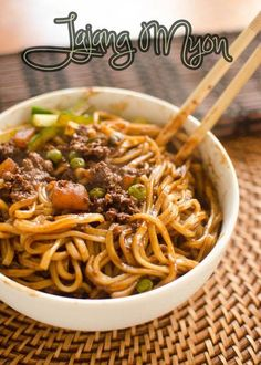 Jajang Myon pasta dish - YES! I love this stuff but hate to buy the processed stuff, been looking for this recipe! Asian Recipes, Beef Recipes, Cooking Recipes, Healthy Recipes, Fast Recipes, Asian Foods, Korean Dishes, Korean Food, I Love Food