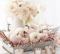 Thanksgiving Decorations, Halloween Decorations, Fall Decorations, Seasonal Decor, Elegant Fall Decor, White Pumpkin Decor, Fall Bedroom, Pink Halloween, Pink Pumpkins
