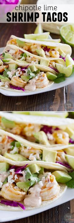 Dinner comes together in a snap with this Chipotle Lime Shrimp Tacos Recipe. There is no excuse to not have a homemade meal on the table when dinner is this easy!