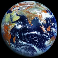 "There's been a long history of NASA-provided ""Blue Marble"" images of Earth, but now we're getting a different perspective thanks to photos taken by the Elektro-L Russian weather satellite. Earth And Space, Planet Earth From Space, Globus Logo, Weather Satellite, Satellite Picture, Earth Photos, Pics Of Earth, Outer Space, Milky Way"