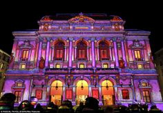 Brilliantly bright: A historic building in Lyon lit up for the annual Festival of Lights, one of France's biggest cultural events