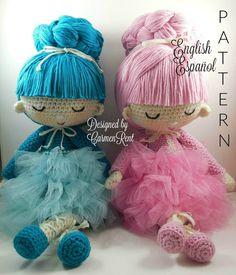 Pau and Angie Amigurumi Doll Crochet Pattern PDF by CarmenRent ♡ lovely dolls
