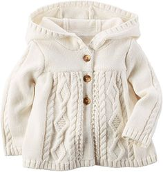 """<a href=""""http://Amazon.com"""" rel=""""nofollow"""" target=""""_blank"""">Amazon.com</a>: Carters Baby Girl Hooded Chunky Cable-knit Cardigan: Clothing"""