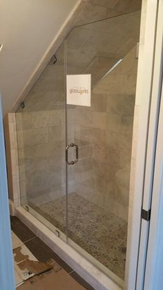 Unusual Tiny House Bathroom Shower Ideas - Page 26 of 79 Sloped Ceiling Bathroom, Loft Bathroom, Slanted Ceiling, Tiny House Bathroom, Upstairs Bathrooms, Bathroom Renos, Small Bathroom, Bathroom Ideas, Attic Shower
