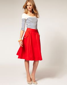 Nautical stripes, red skirt