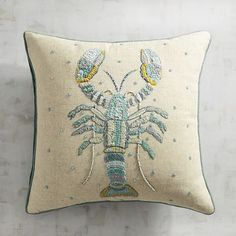 A new wave of coastal chic has arrived, and lobsters are coming ashore in cool blue embroidery and beading as part of a beachy, sea-and-sky color palette. Cute Cushions, Upcycled Home Decor, Pillow Texture, Thread Painting, Needlepoint Patterns, Textiles, Animal Pillows, Rug Hooking, Soft Furnishings