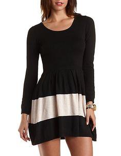 Striped Sweater Knit Skater Dress #charlotterusse #charlottelook