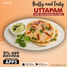 Uttapam - fluffy & tasty south Indian food in train, Order now. Jain Recipes, Indian Food Recipes, Ethnic Recipes, Veg Thali, Food Coupons, Food Banner, Order Food Online, Tasty, Yummy Food