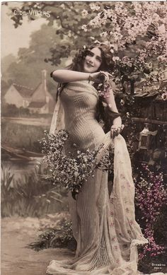 early 1900s...Beautiful Edwardian Lady...Flowers...original vintage french postcard...paper ephemera via Etsy