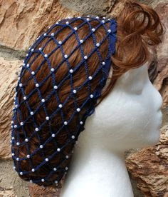 Beaded Renaissance Victorian Navy Blue Snood by EclecticClaire