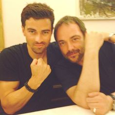 Matt and Mark, Holy crap on toast those are some gorgeous men! Sam E Dean Winchester, Winchester Brothers, Supernatural Convention, Supernatural Fans, Matt Cohen, Young John, Supernatural Pictures, Bobby Singer, Mark Sheppard