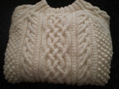 HAND KNITTED ADULT ARAN CABLED SWEATER by MonumentDesigns on Etsy, $250.00