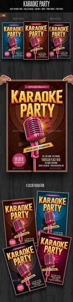 Karaoke Party Flyer Template #design Download: http://graphicriver.net/item/karaoke-party/12134243?ref=ksioks