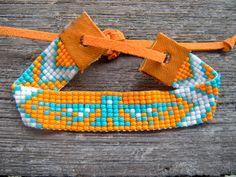 orange et turquoise de bracelet pour le métier à tisser perles native american tribal aigle