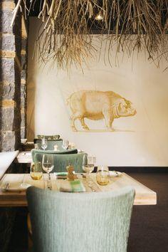 dining room   wood + blue