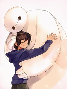 Hiro Hamada and Baymax sharing a loving hug in Anime style Disney Artwork, Disney Fan Art, Disney Fun, Disney Drawings, Big Hero Baymax, Hiro Big Hero 6, Cartoon Wallpaper, Disney Wallpaper, Disney And Dreamworks