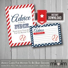 Little Slugger Baseball Baby Shower:  Advice Cards For Mother To Be - Red and Blue -Shower Game -Baseball - Sports Theme- INSTANT DOWNLOAD on Etsy, $5.00