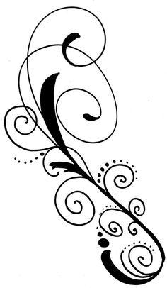 Schnörkel Tattoo Vorlage geschrägt