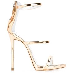 Giuseppe Zanotti Design Coline Sandal ($555) ❤ liked on Polyvore featuring shoes, sandals, gold, strap shoes, genuine leather shoes, open toe leather sandals, strap sandals and real leather shoes