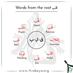Learning Arabic MSA ( Here are some of the words extracted from the root (ق - ل - ب). One of them is the word قلب 🔊 Qalb which means (Heart) ♥️ Try to find other words and let us help you with their meaning 👌👌 Foreign Language Teaching, Language Study, Arabic Language, Quran Arabic, Arabic Phrases, Arabic Words, Ing Words, Learn Arabic Alphabet, Arabic Lessons