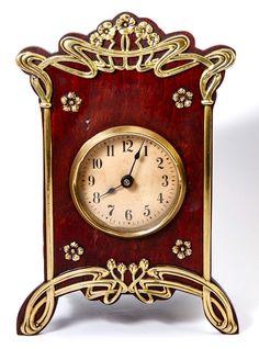 Antique French Art Nouveau Desk or Mantel Clock, Wood & Polished Brass, Runs