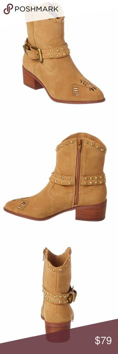 """BCBGeneration Western Studded Bootie BCBGeneration Lokki Western Studded Bootie.  This western rocker bootie is designed in genuine suede with metallic studs and a belt-inspired ankle buckle.  Material: Suede Heel Height: 1.75"""" Shoe Width: Medium Color: wheat.   Design details: gold-tone hardware, stud detailing. Inner side zip-up closure. Lightly padded insole.   Size 10. BCBGeneration Shoes Ankle Boots & Booties"""