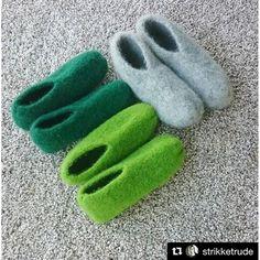 Ny variant av tovede tøfler - disse blir du glad i! Instagram er en kontinuerlig inspirasjonskilde for meg, og det var her jeg fant disse tøflene. Felted Slippers, Gloves, Knitting, Crochet, Womens Fashion, Ova, Barn, Inside Shoes, Chrochet