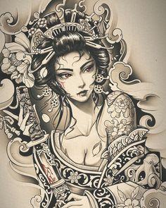 Geisha Tattoo Design, Japan Tattoo Design, Japanese Tattoo Designs, Japanese Tattoo Art, Japanese Sleeve Tattoos, Tattoo Sketches, Tattoo Drawings, Geisha Tattoo Sleeve, Transférer Des Photos