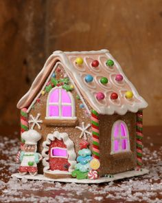 Christmas Candy Gingerbread Bakery with Light shelley b home and holiday