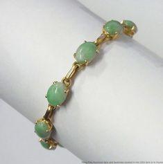 17dd8ec7f7 Details about Vintage Genuine Jade 14k Gold Ladies Mutton Fat Jadeite  Bracelet 6.25 inches