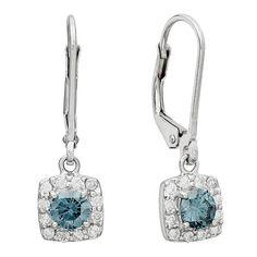 7/8CTW Color Treated Blue Diamond and White Diamond Earrings
