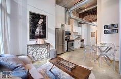Robert Watson Lofts-363-369 Sorauren Ave #217 | Old meets new in this fab North East 2 bedroom + 2 bath corner loft with walk-out to 135 sf private terrace! | More info here: torontolofts.ca/robert-watson-lofts-lofts-for-sale/363-369-sorauren-ave-217 Concrete Ceiling, Concrete Wood, Exposed Brick Walls, Lofts, Terrace, Corner, Bath, Bedroom, Furniture